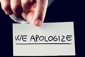 apologize to your customers
